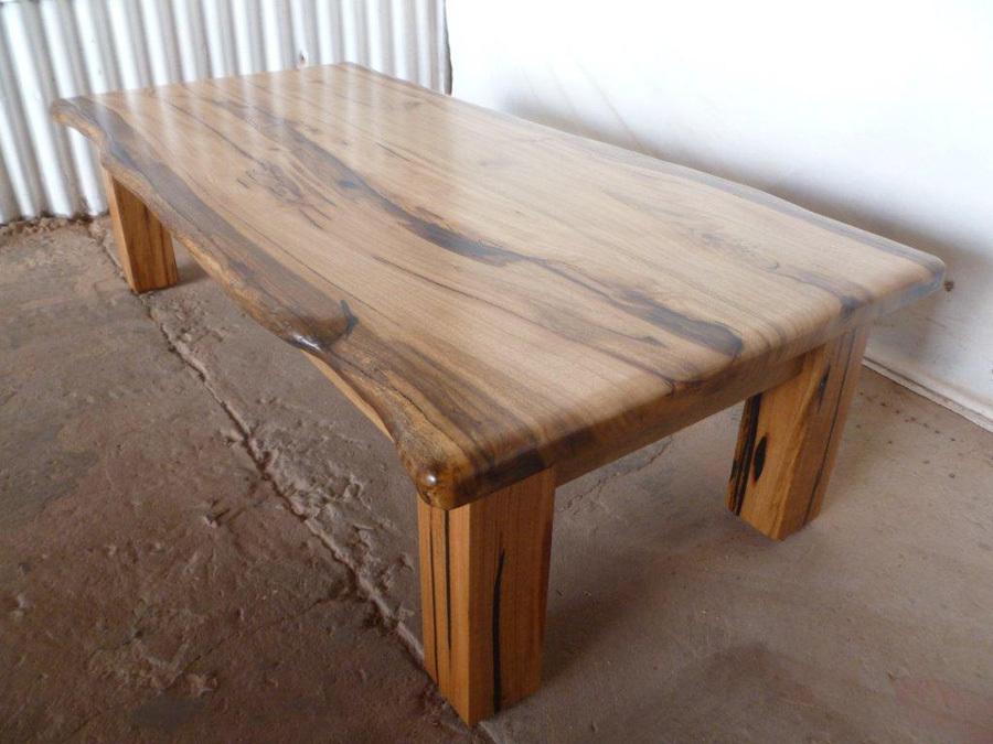 Polished Wood Slab Coffee Table