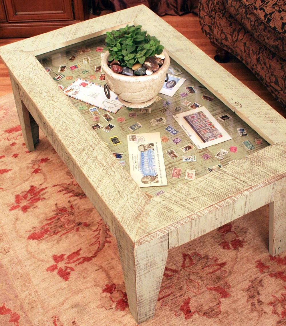 Post Glass Display Coffee Table