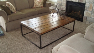 Reclaimed Polished Wood Coffee Table