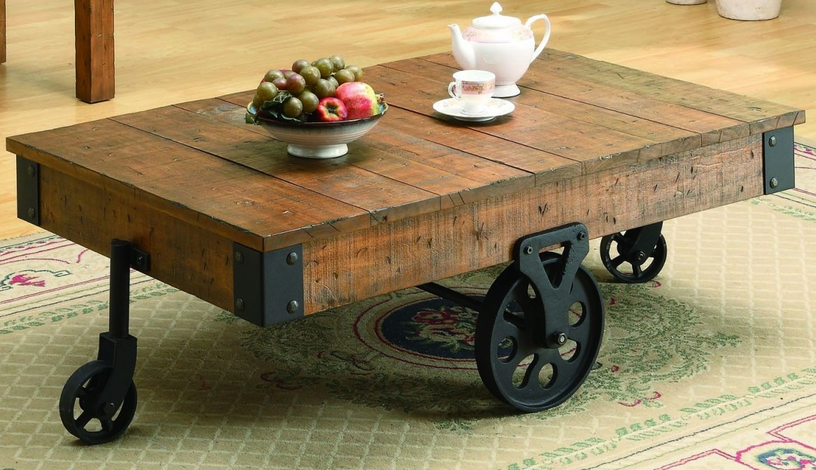 Reclaimed Wood Coffee Table With Stilyzed Wheels