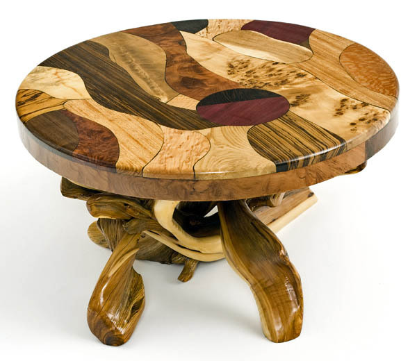 Round Coffee Table With Log Base