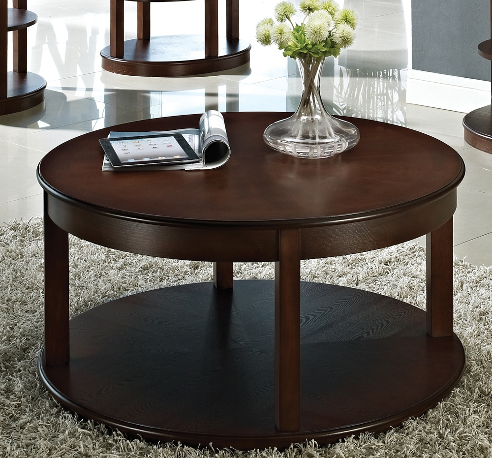 Round Espresso Coffee Table