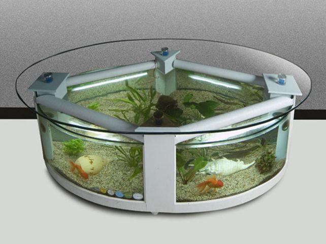 Round Fish Tank Coffee Table
