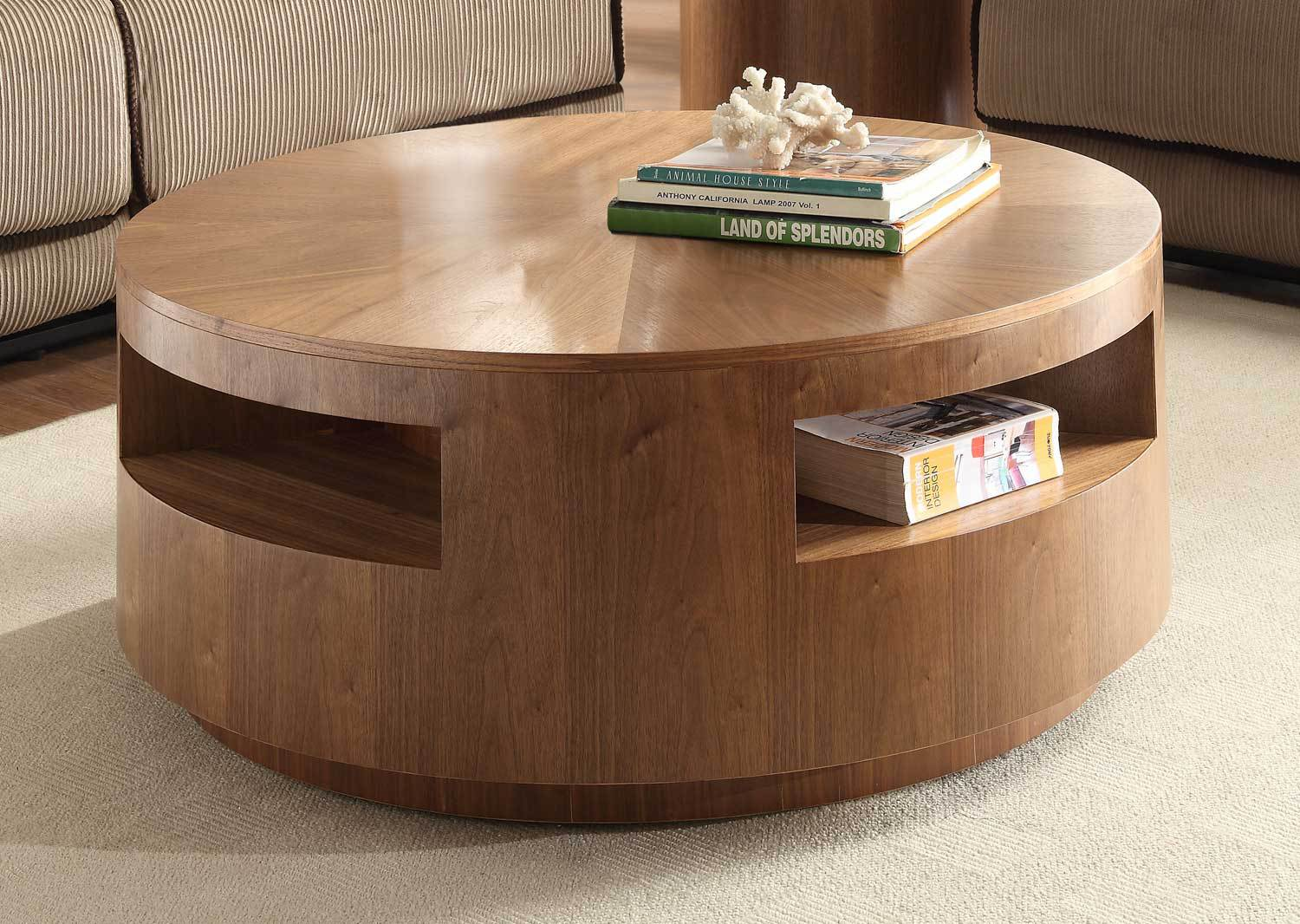 Round Natural Walnut Coffee Table