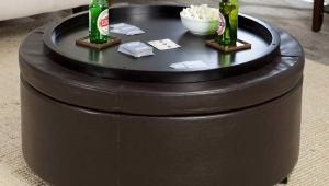 Round Ottoman Coffee Table Tray