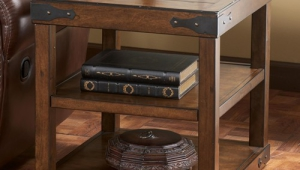 Rustic End Table With Metal Brackets