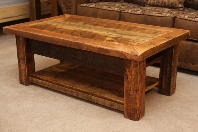 Rustic Wood Coffee Table With Shelf