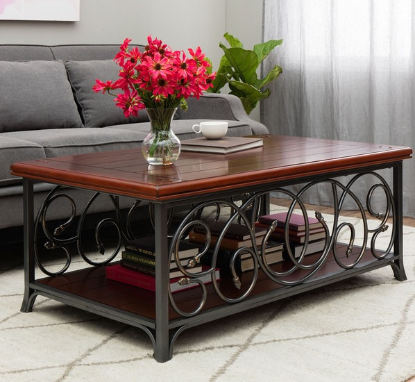 Scrolled Metal And Wood Overstock Coffee Table