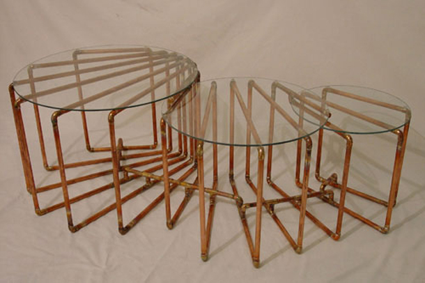 Sculptural Copper Coffee Table
