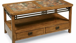 Slate Coffee Table With Shelf And Drawers