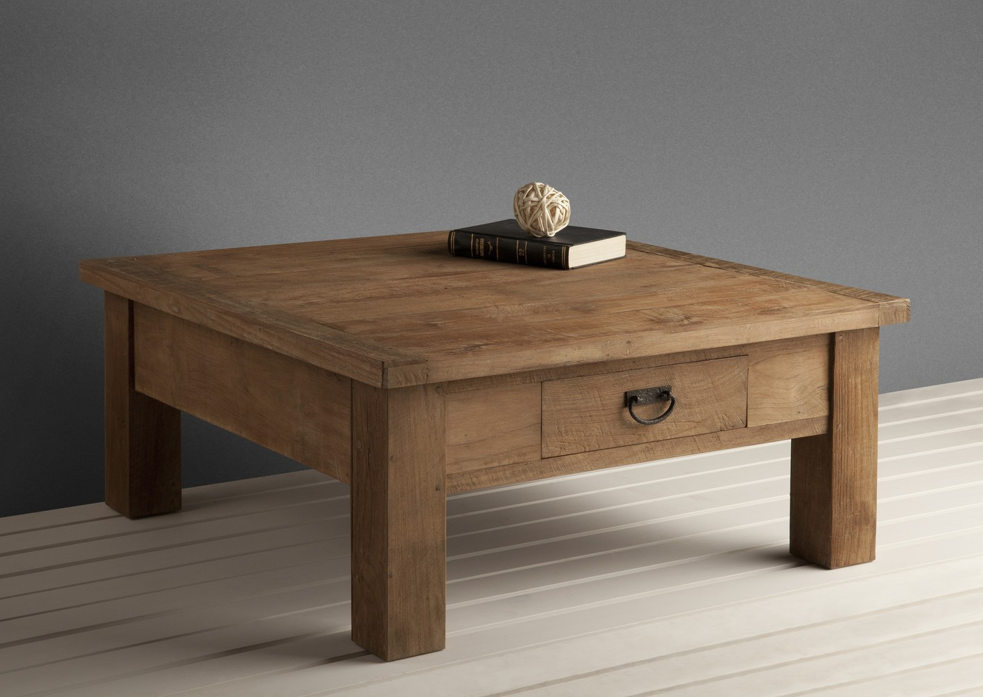 Solid Wood Coffee Table With Small Drawer