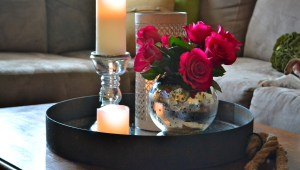Tray Coffee Table With Candles And Flowers