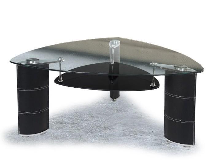 Triangular Glass Coffee Table With Open Shelf