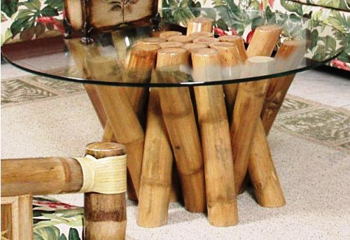 Unique Glass Top Coffee Table With Bamboo Base