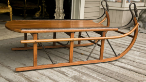 Unusual Coffee Table In The Sled Form