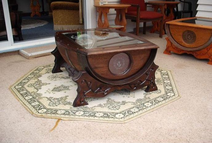 Unusual Wine Barrel Coffee Table