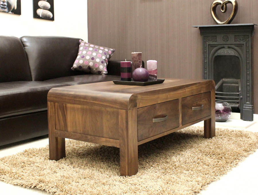 Walnut Coffee Table With Drawers