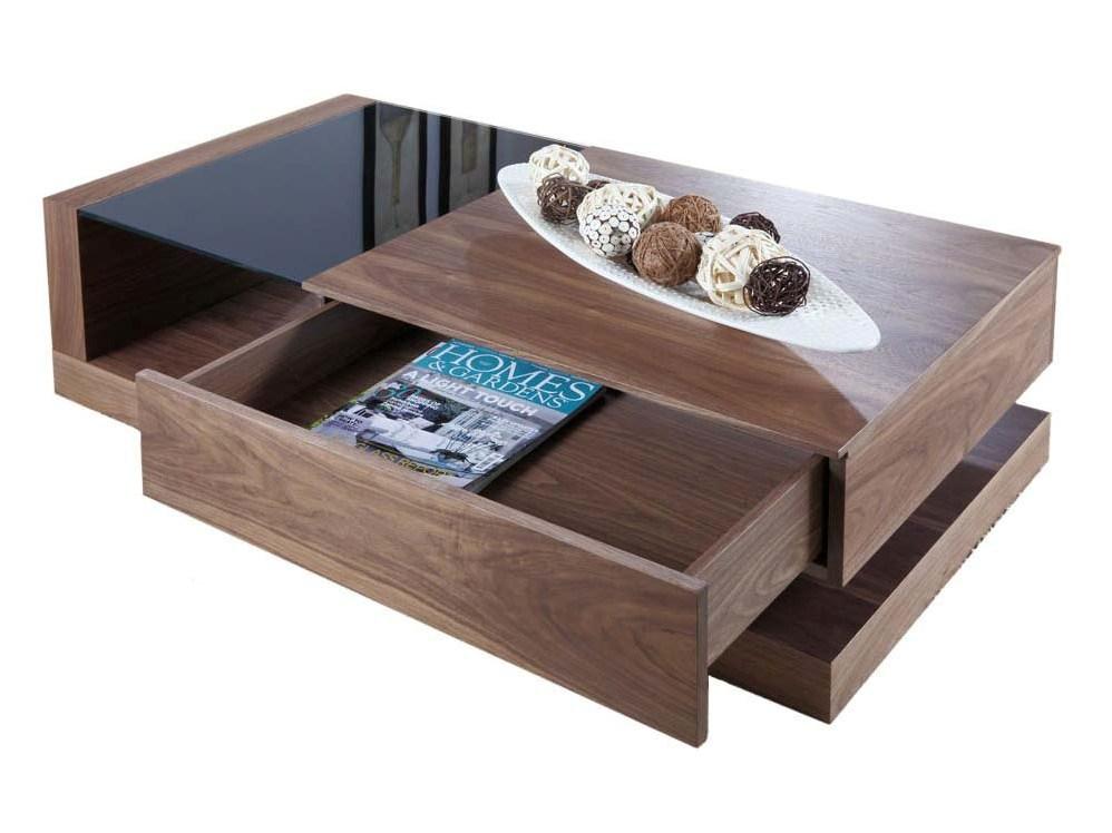 Walnut Coffee Table With Storage Box