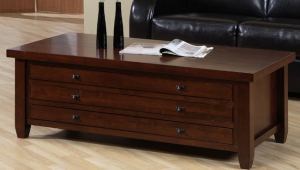 Walnut Multidrawer Overstock Coffee Table