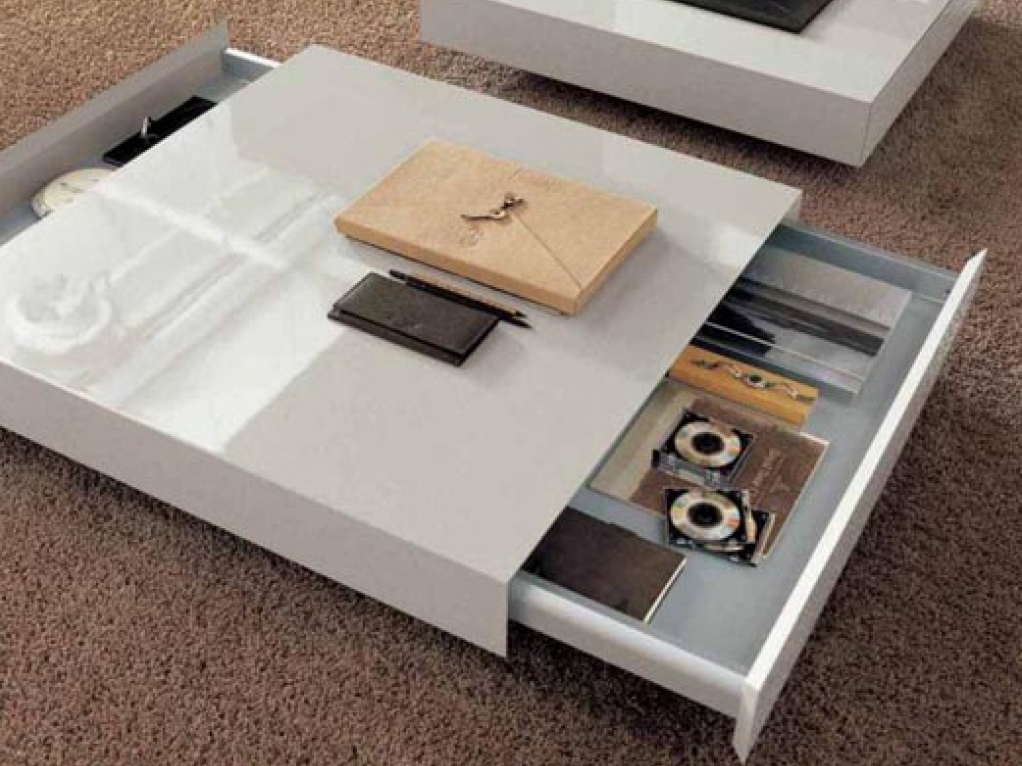 White Lacquer Coffee Table With Hidden Boxes