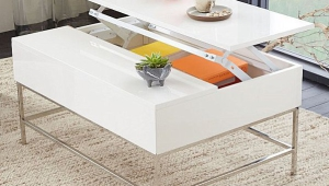 White Lacquer Coffee Table With Storage