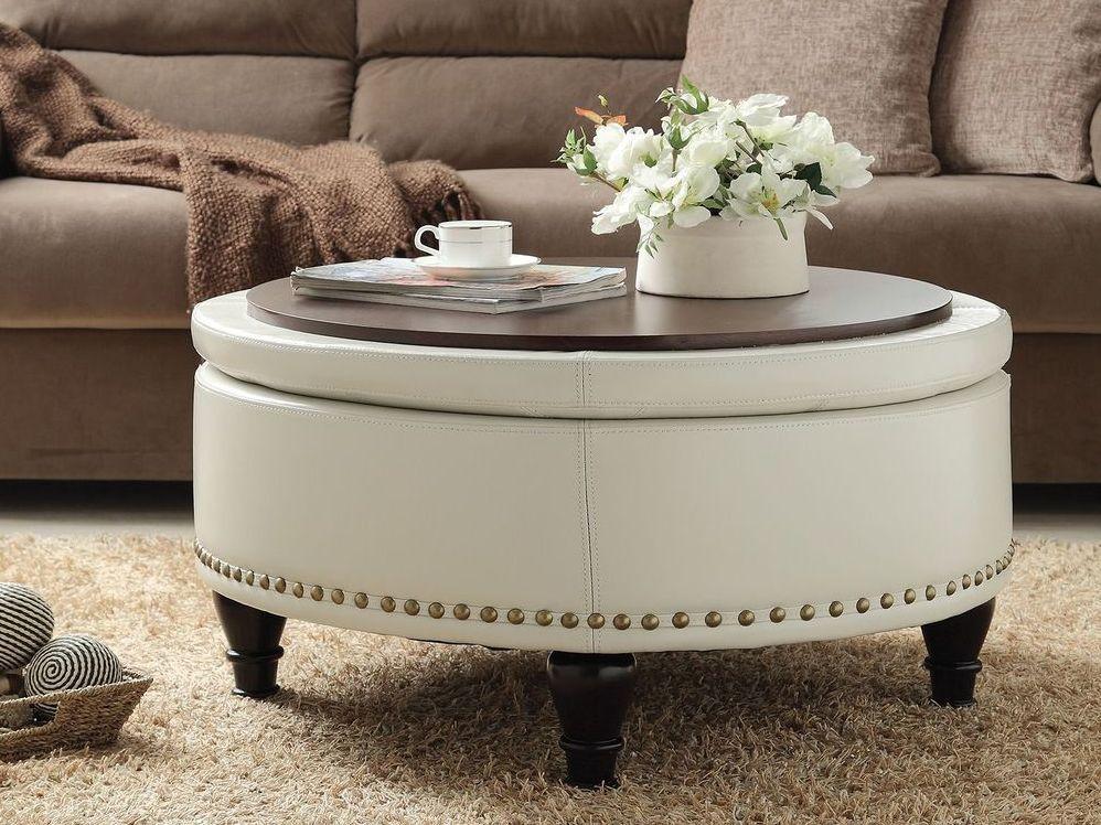 White Leather Ottoman Coffee Table Tray