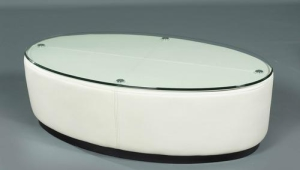 White Leather Oval Coffee Table