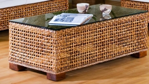 Wicker Coffee Table With Glossy Top