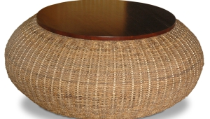 Wicker Coffee Table With Wood Top