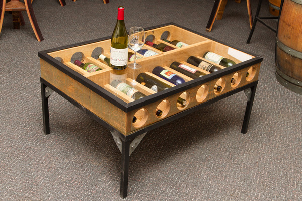 Wine Bottle Glass Display Coffee Table