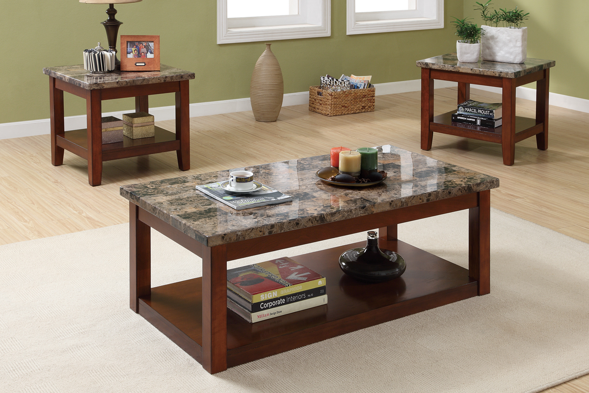 Wooden Base Coffee Table With Granite Top