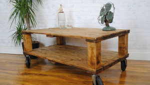 Wooden Coffee Table On Wheels