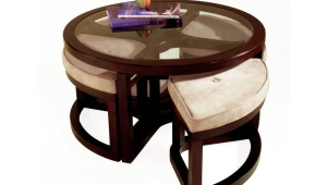 Wooden Round Coffee Table With Four Stools