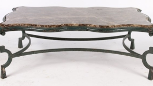 Wrought Iron Coffee Table With Marble Top