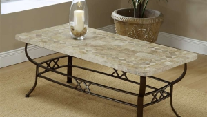 Wrought Iron Coffee Table With Nature Stone Top