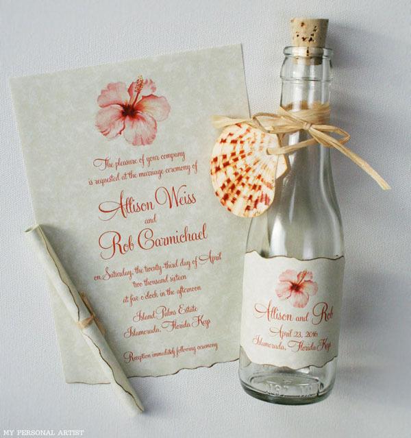 Beach Wedding Invitation Bottle