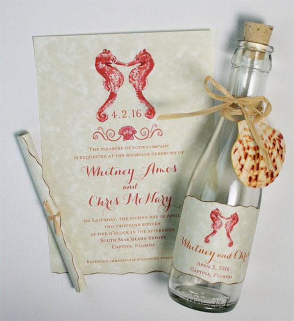 Creative Wedding Invitation Design SOS Bottle