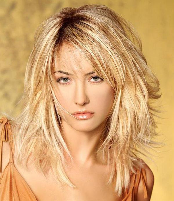 Layered Medium Blonde Hairstyle
