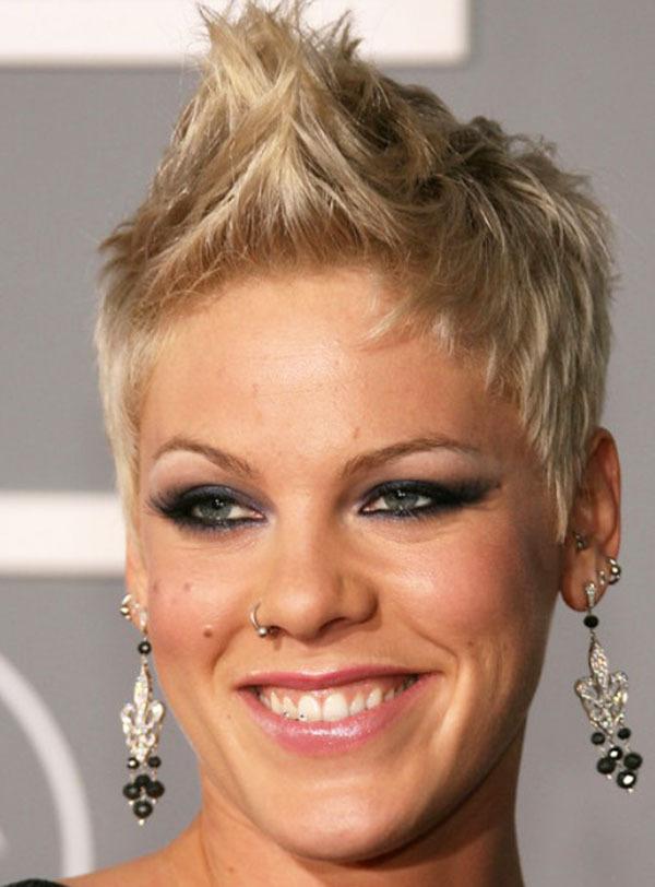 Pink Blonde Short Spiky Hair
