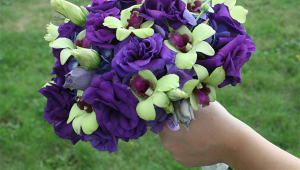 Purple And Yellow Bridal Bouquet