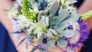 Purple White Wedding Flowers