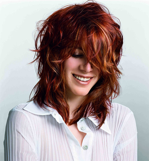 Red Long Wavy Hairstyle