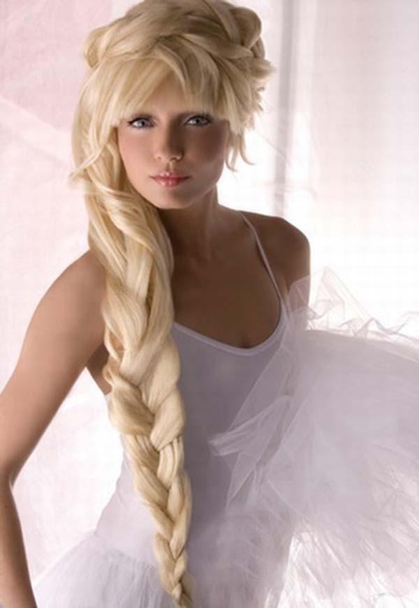Unusual Long Blonde Wedding Hairstyling