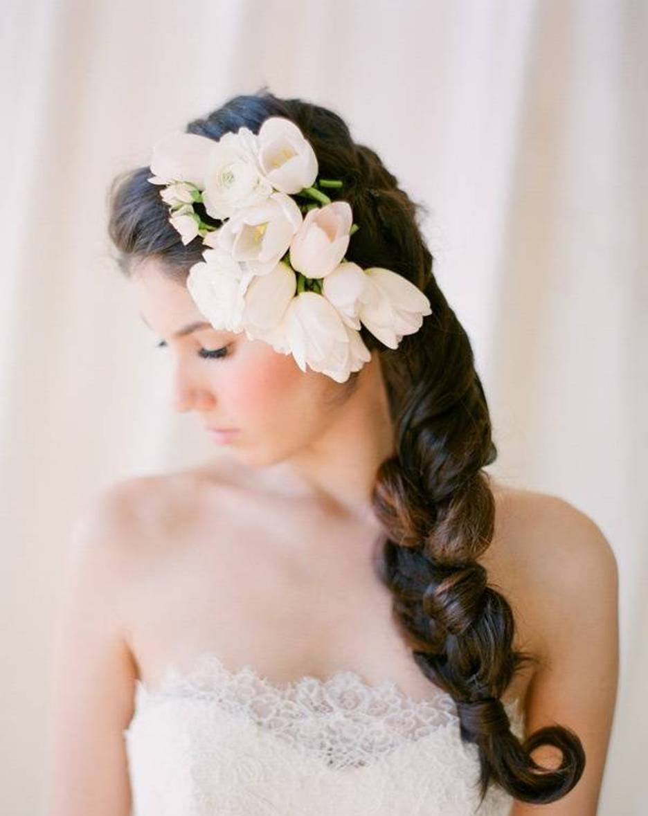 Wedding Hairstyles For Long Hair With Braids And Flowers Twisted Braid