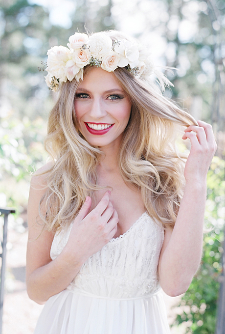 Wedding Hairstyles With Flower Crown Of Roses