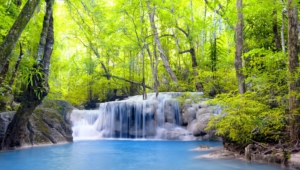 Waterfall River Waterfall Emerald Forest Landscape Forest Wallpaper 1