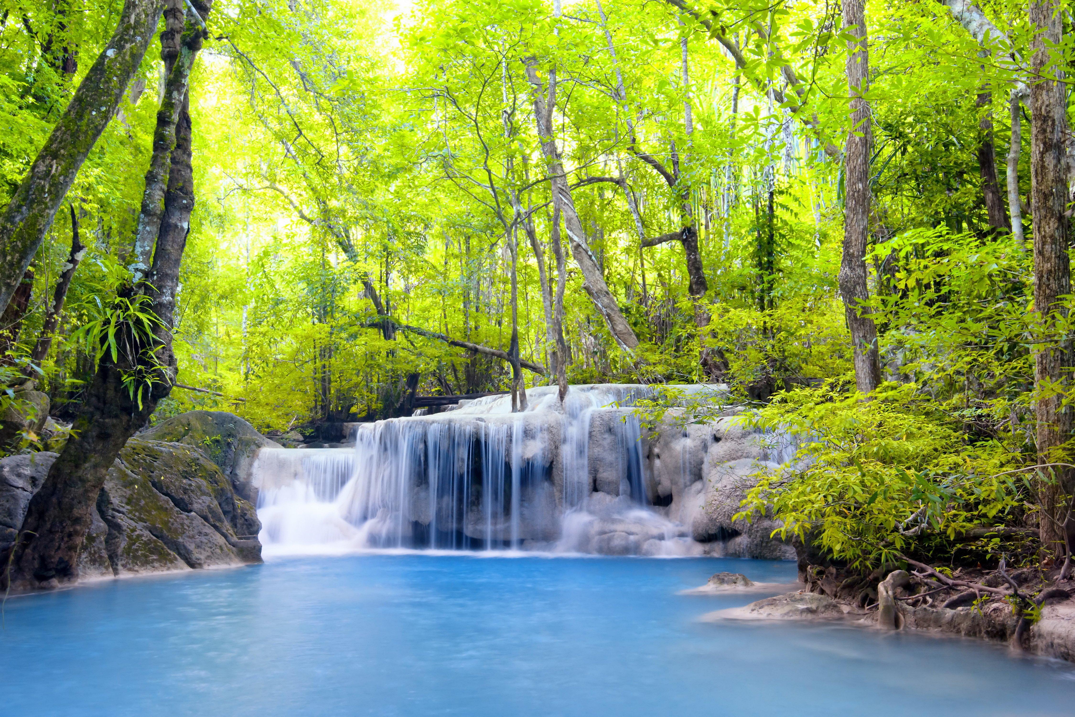 Waterfall River Waterfall Emerald Forest Landscape Forest Wallpaper 1