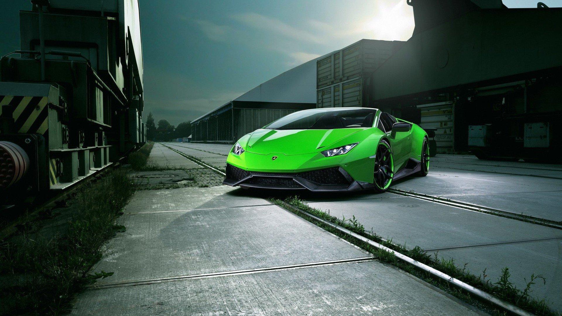 Hình nền Lamborghini Huracan bản màu xanh lá