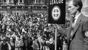Members of the White Defence League rally against black immigrants in Trafalgar Square. London. United Kingdom. March 24, 1959.
