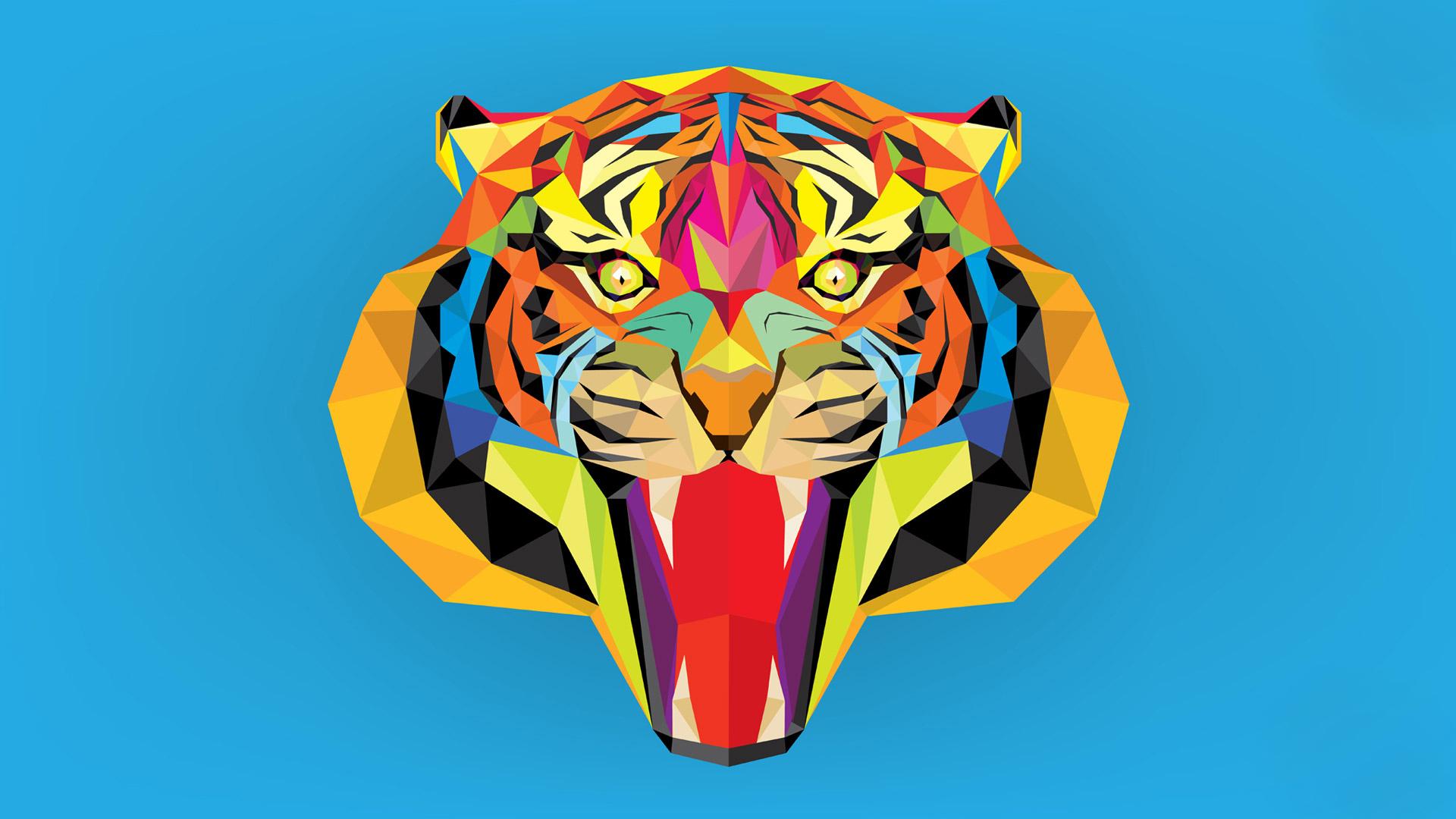 Polygon Tiger Computer Wallpaper